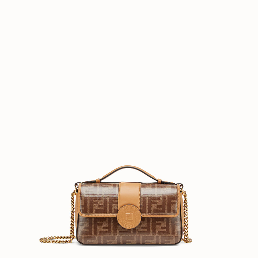 FENDI DOUBLE F SMALL - Brown leather and fabric bag - view 1 detail