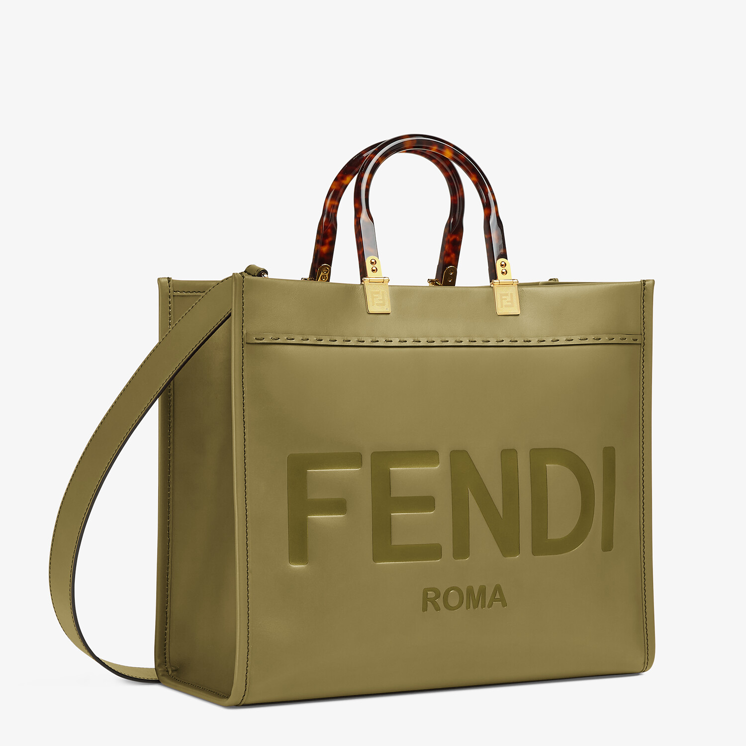 FENDI FENDI SUNSHINE MEDIUM - Green leather shopper - view 2 detail