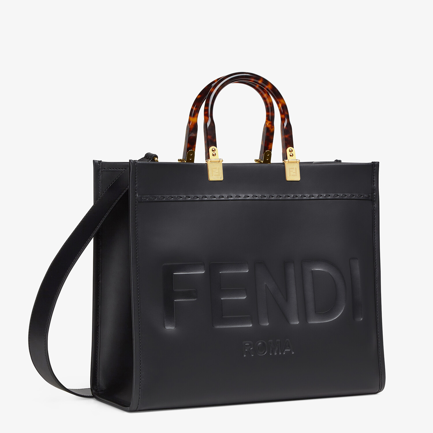 FENDI FENDI SUNSHINE MEDIUM - Black leather shopper - view 3 detail