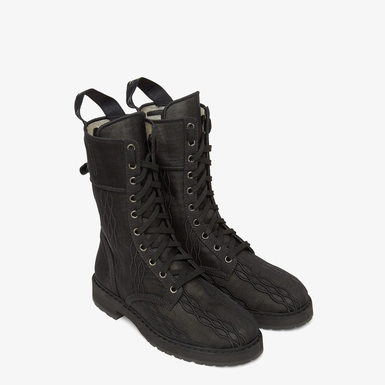 FENDI SIGNATURE BIKER BOOTS - Black canvas boots - view 4 detail