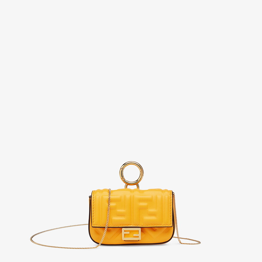 FENDI NANO BAGUETTE CHARM - Orange nappa leather charm - view 1 detail