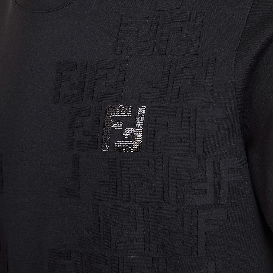 FENDI T-SHIRT - Black jersey T-shirt - view 3 detail