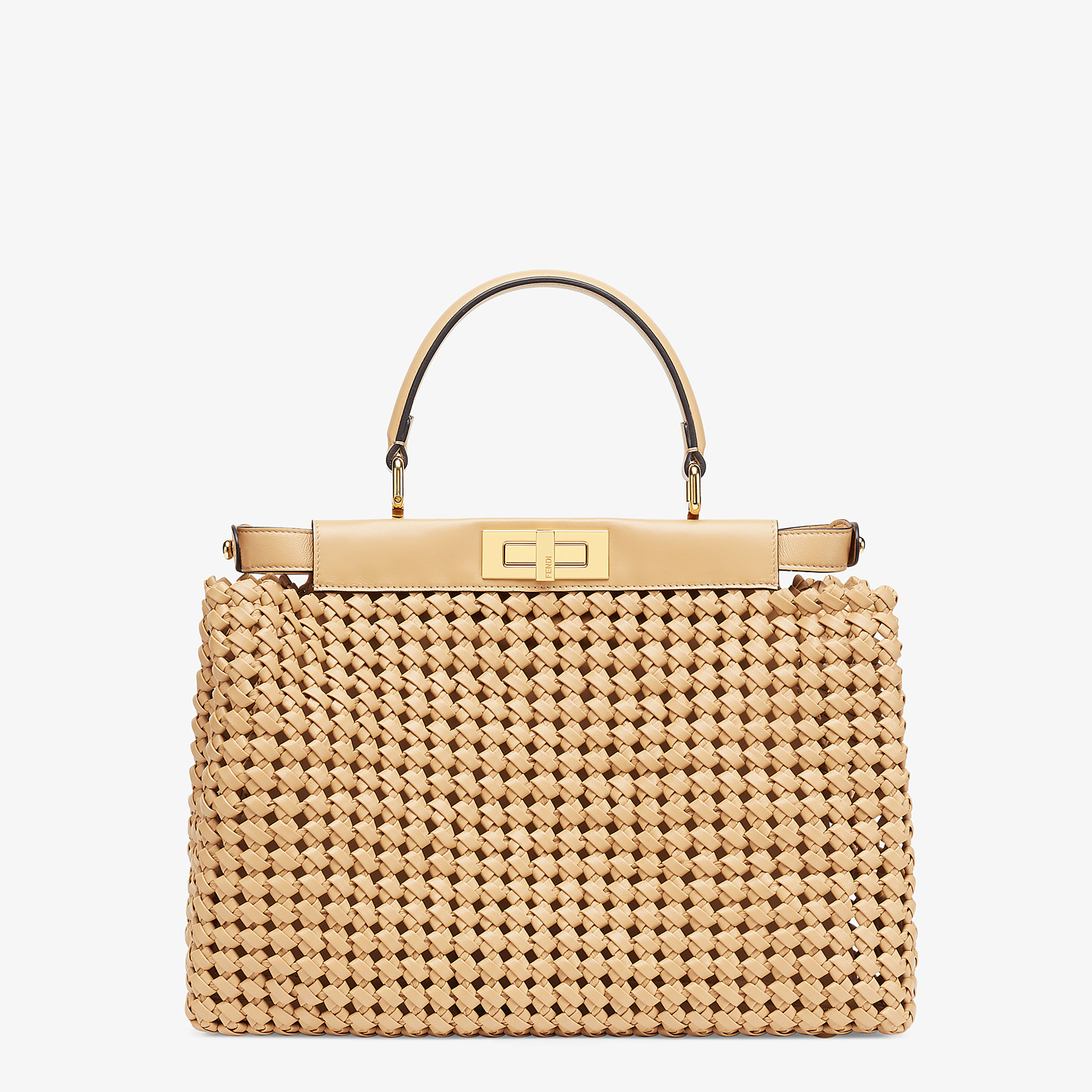 FENDI PEEKABOO ICONIC MEDIUM - Beige leather interlace bag - view 4 detail