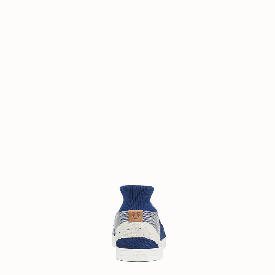 FENDI SNEAKERS - Blue and white knit slip-ons - view 3 detail