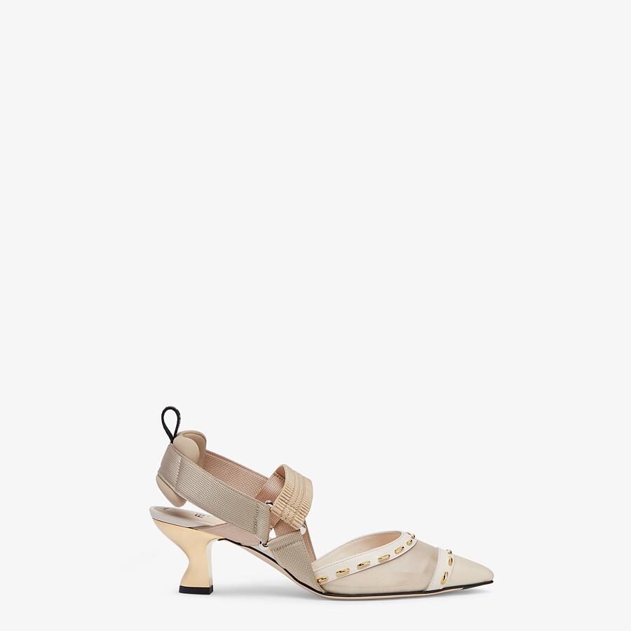 FENDI COLIBRÌ - Pink mesh, medium-heel slingbacks with metal stitches - view 1 detail