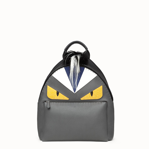 FENDI BAG BUGS BACKPACK - in black and gray Roman leather - view 1 small thumbnail