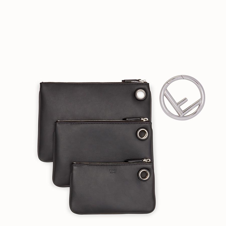 FENDI TRIPLETTE - Black leather clutch - view 3 detail