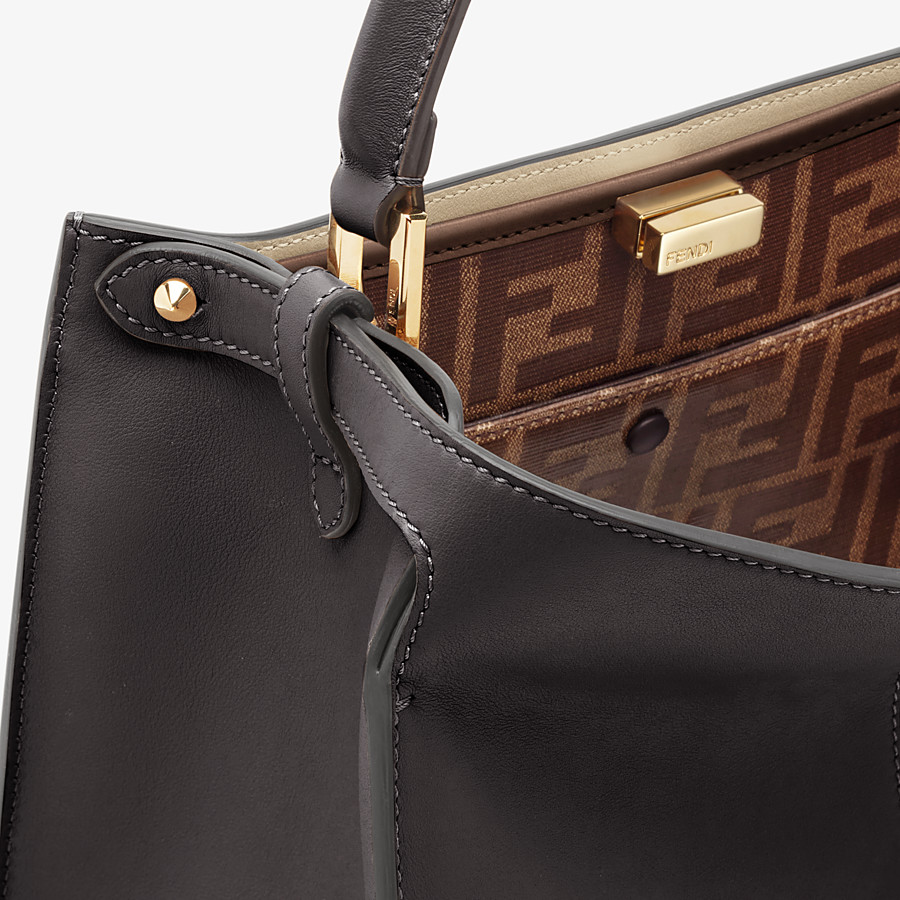 FENDI PEEKABOO X-LITE MEDIUM - Black leather bag - view 6 detail