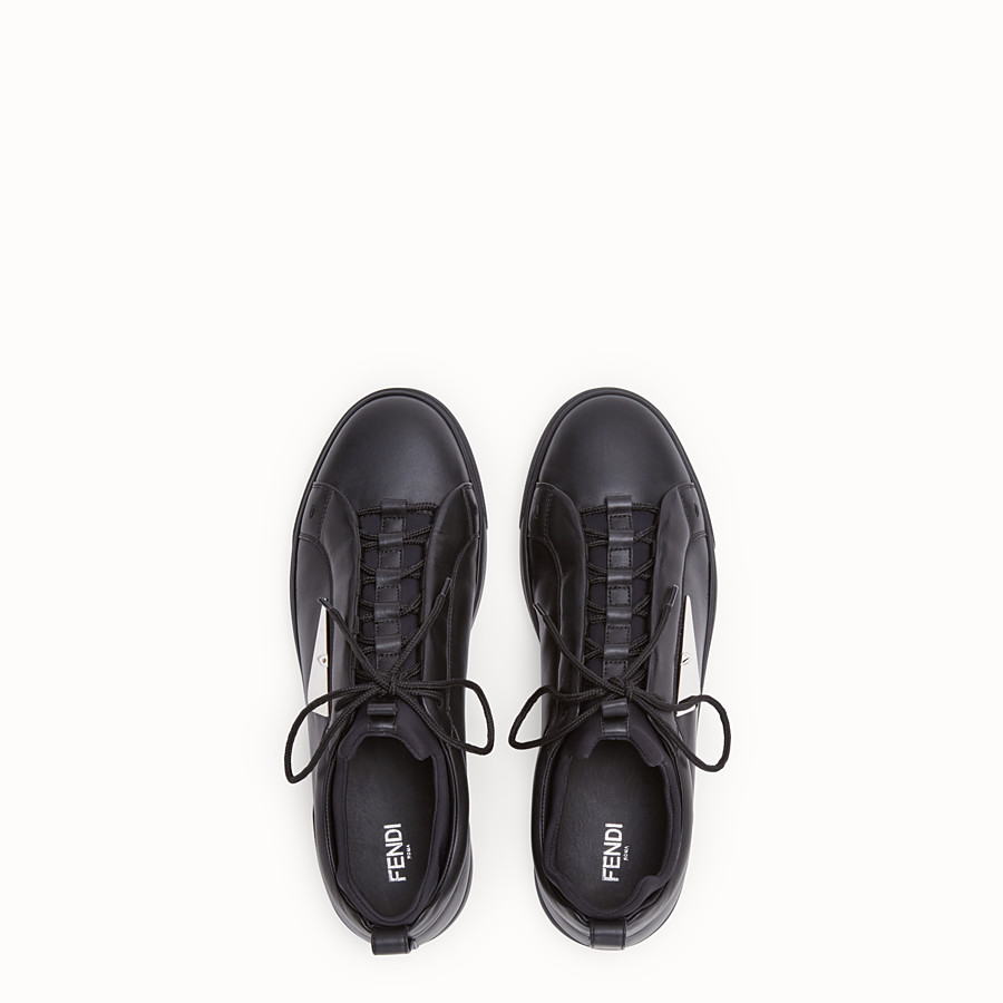 FENDI SNEAKER - Black leather low-tops - view 4 detail