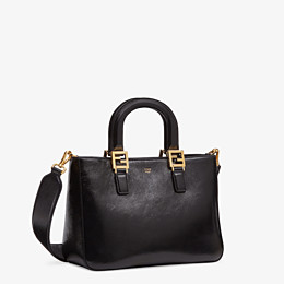 FENDI FF TOTE SMALL - Black leather bag - view 3 thumbnail