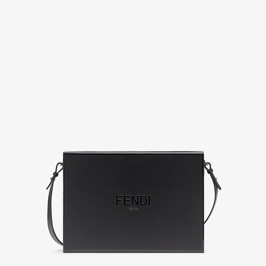 FENDI MESSENGER BOX - Black leather bag - view 1 detail