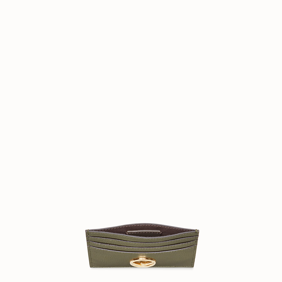 FENDI CARD HOLDER - Green leather flat card holder - view 3 detail