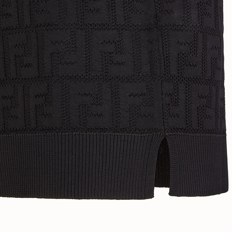 FENDI JUMPER - Black cotton and viscose jumper - view 3 detail