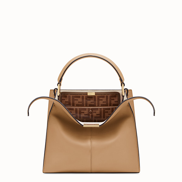 FENDI PEEKABOO X-LITE MEDIUM - Borsa in pelle beige - vista 1 thumbnail piccola