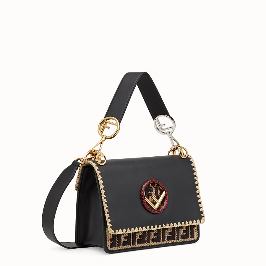 FENDI KAN I F - Black leather bag with exotic details - view 2 detail