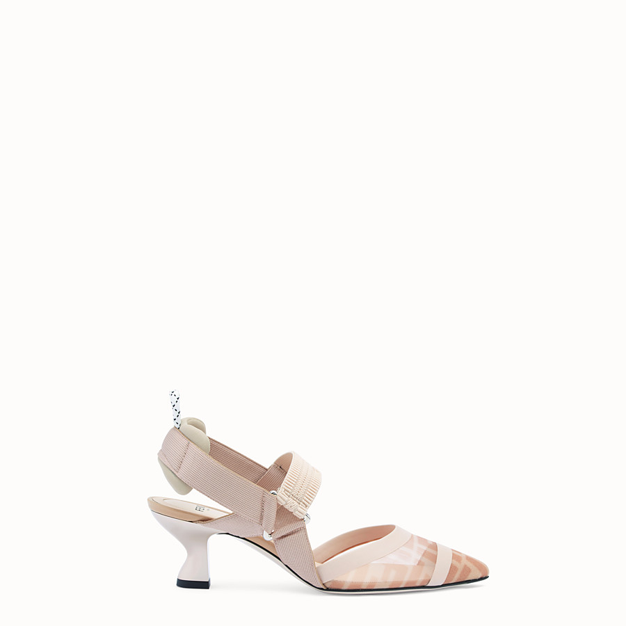 FENDI SLINGBACK - Colibrì in pink mesh and nude leather - view 1 detail