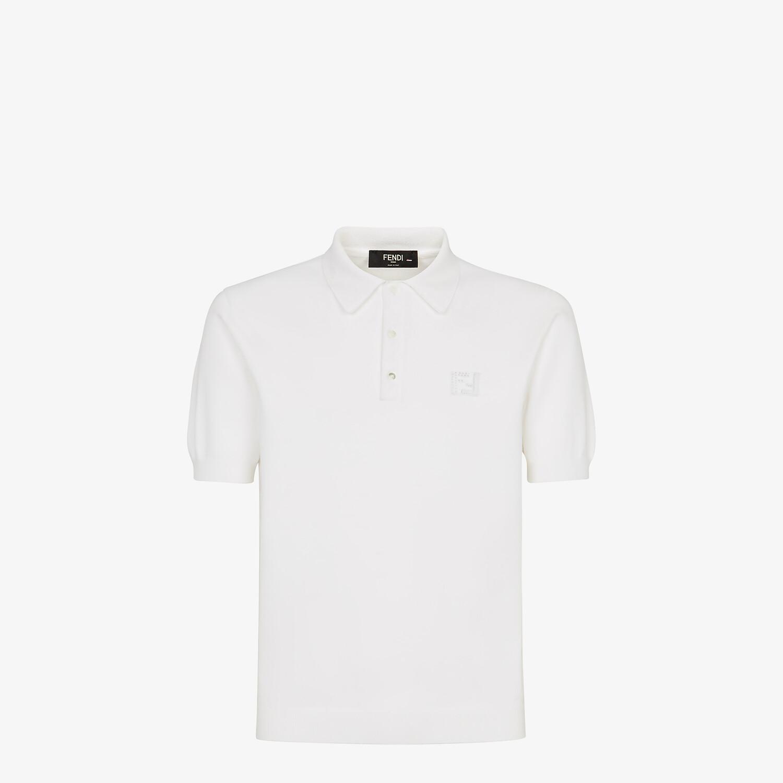 FENDI POLO SHIRT - White cotton polo shirt - view 1 detail