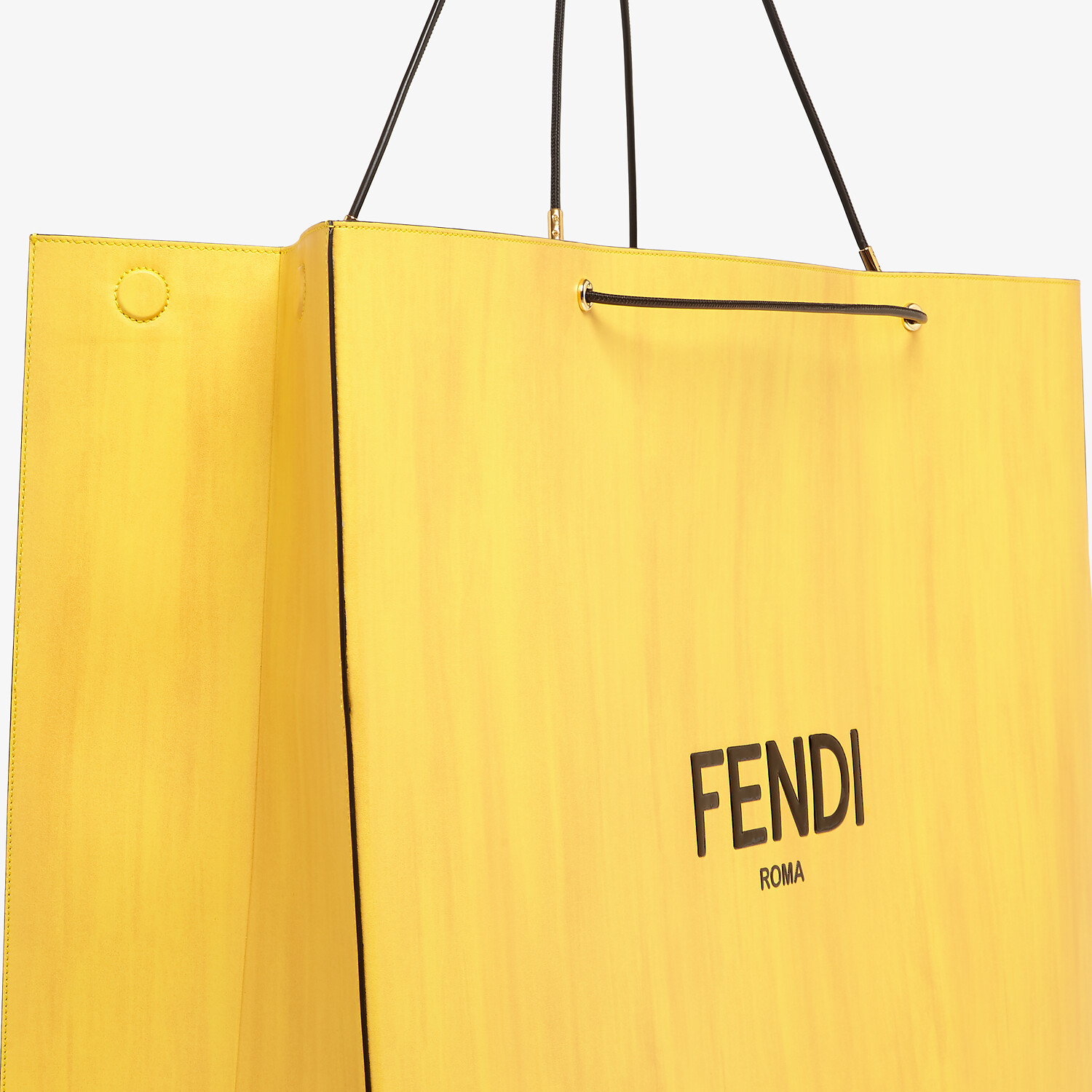 FENDI FENDI PACK LARGE SHOPPING BAG - Yellow leather bag - view 5 detail