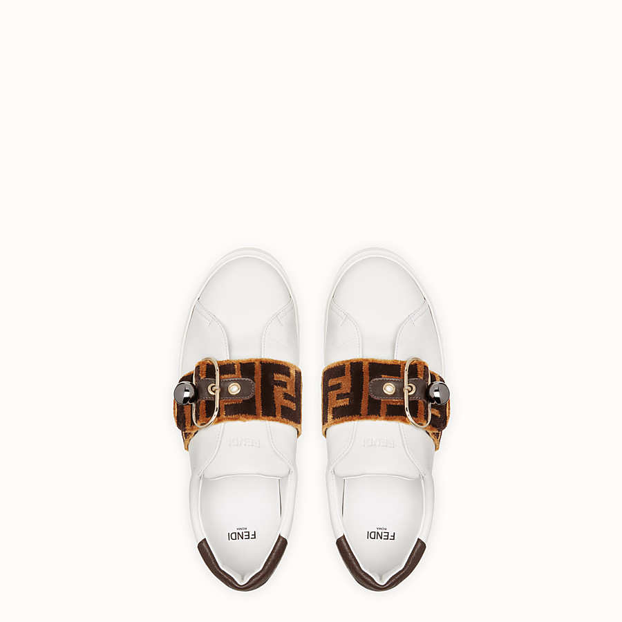 FENDI SNEAKERS - White leather sneakers - view 4 detail