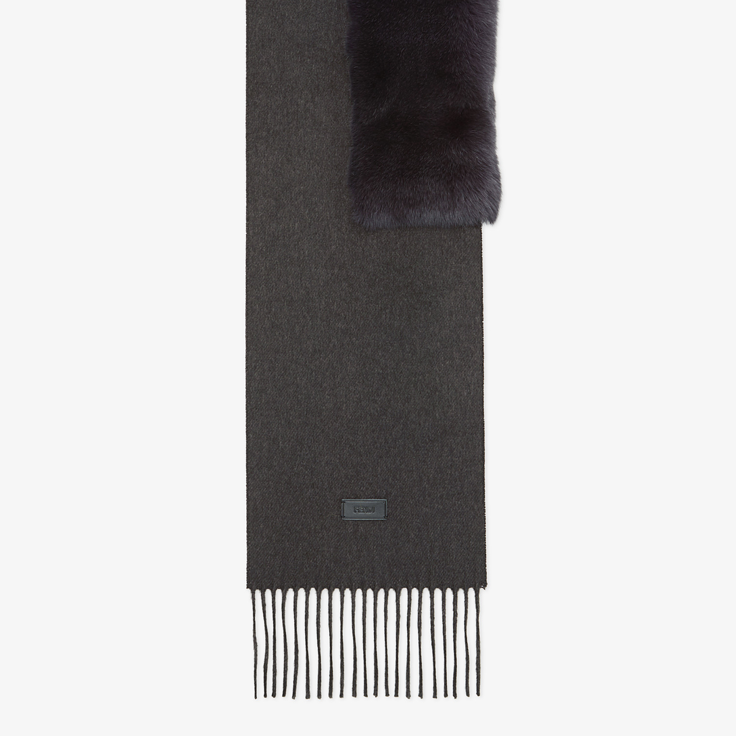 FENDI SCARF - Silk, cashmere and fur scarf - view 1 detail