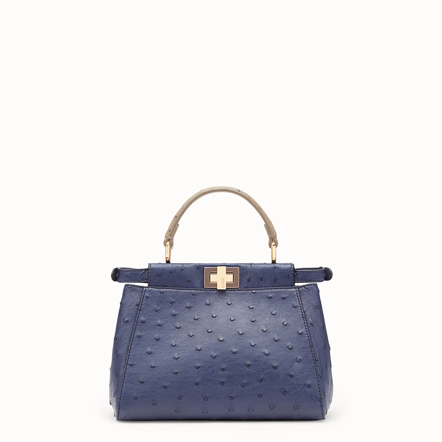 FENDI PEEKABOO MINI - Blue ostrich leather bag - view 3 detail
