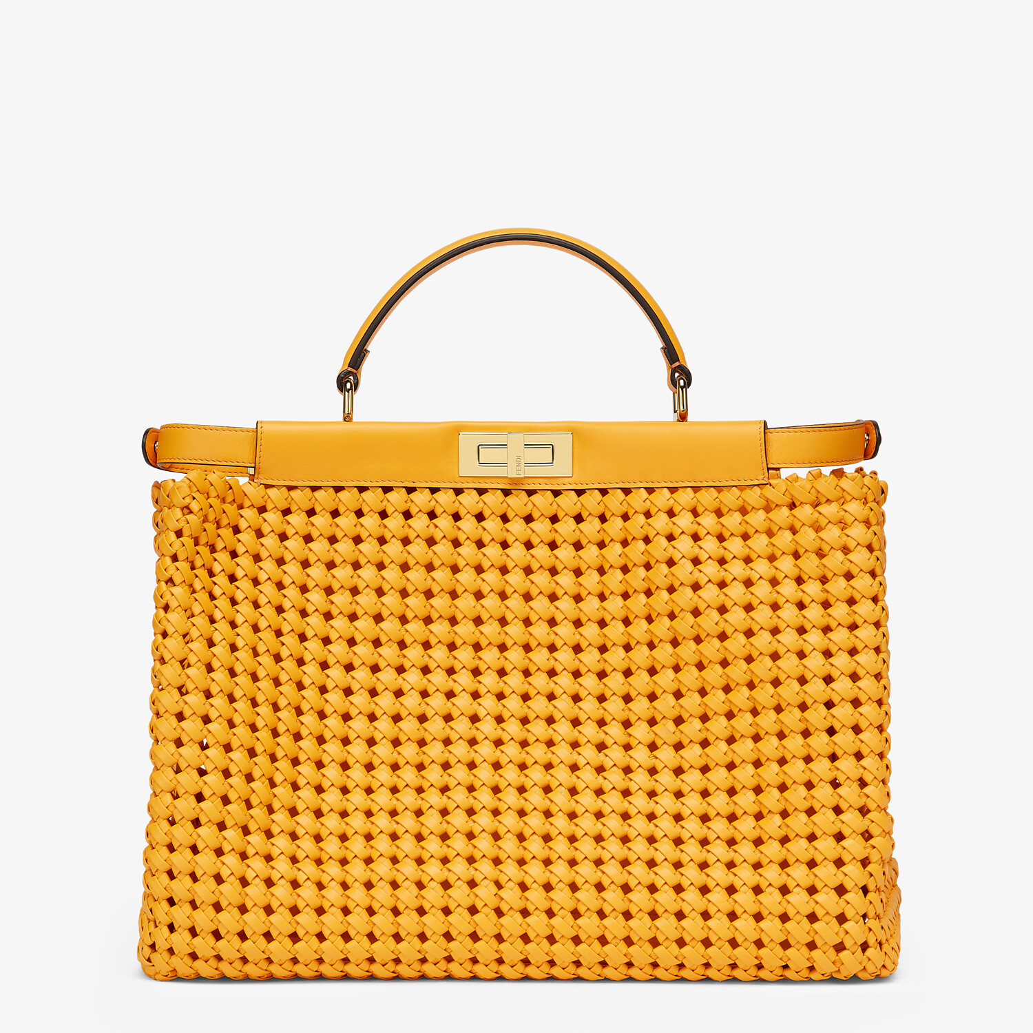 FENDI PEEKABOO ICONIC LARGE - Orange braided leather bag - view 3 detail