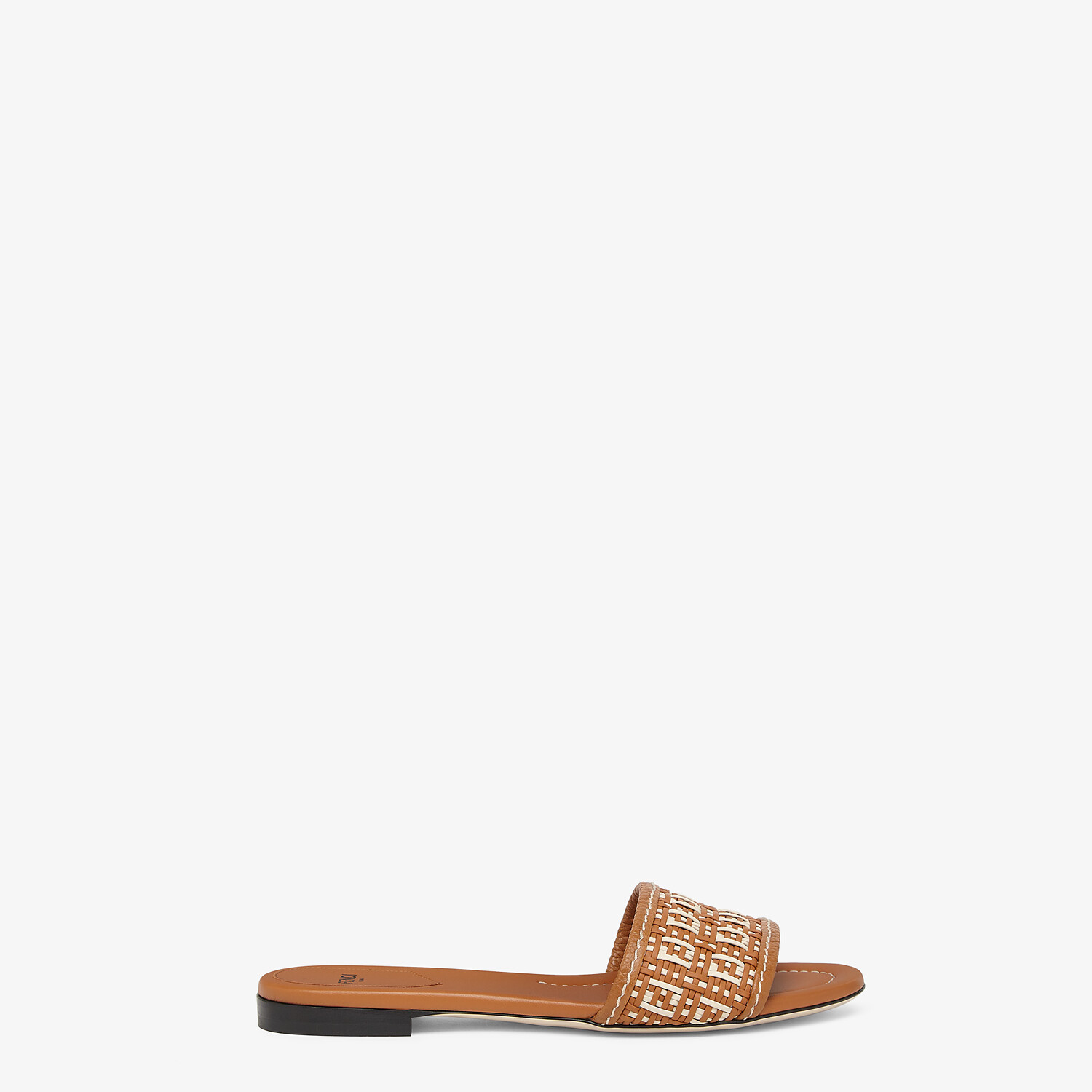 FENDI FF INTERLACE SLIDES - Brown leather slides - view 1 detail