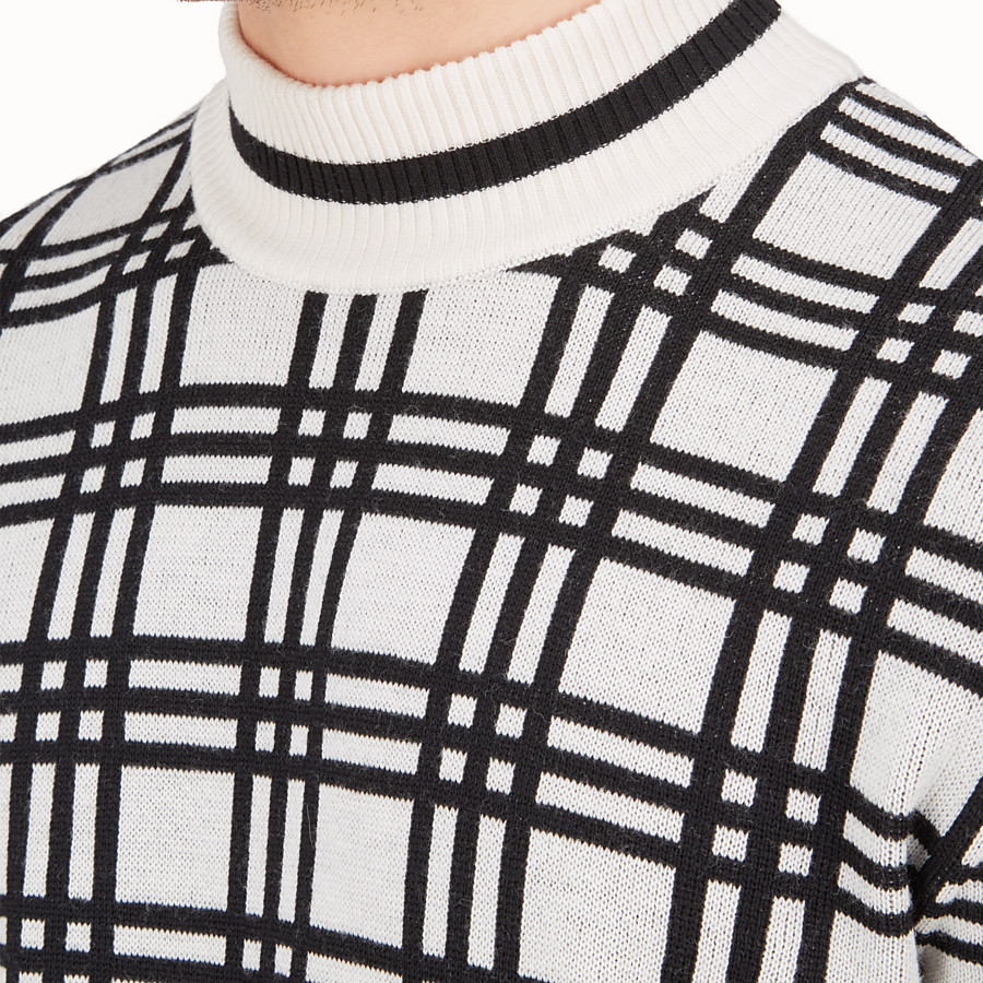 FENDI PULLOVER - Knitted black and white polo-neck pullover - view 3 detail