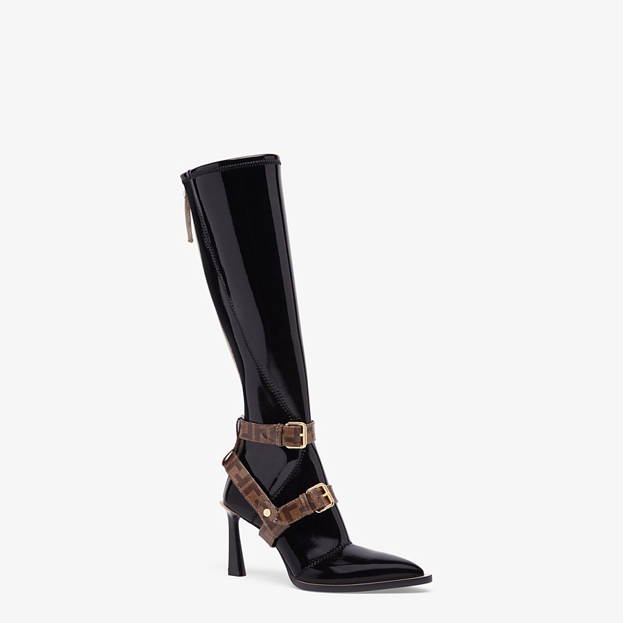 FENDI BOOTS - Glossy black neoprene boots - view 2 detail