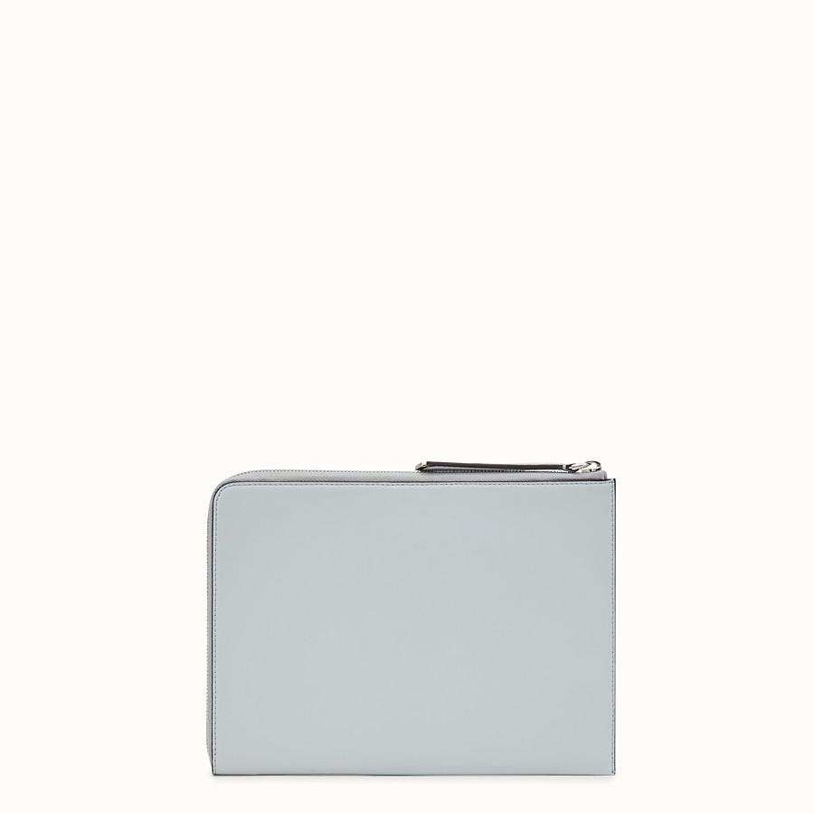 FENDI FLAT CLUTCH - Grey leather pouch - view 3 detail