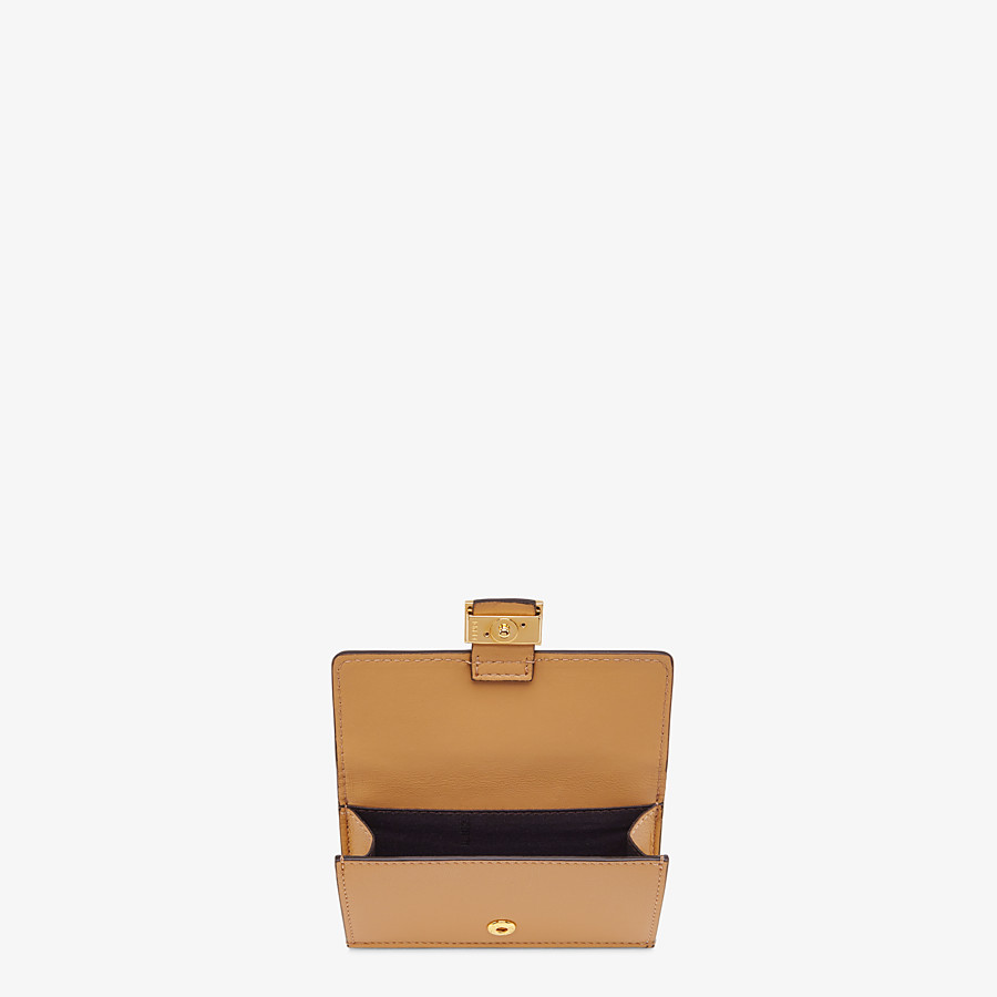 FENDI CARD HOLDER - Beige nappa leather card holder - view 3 detail