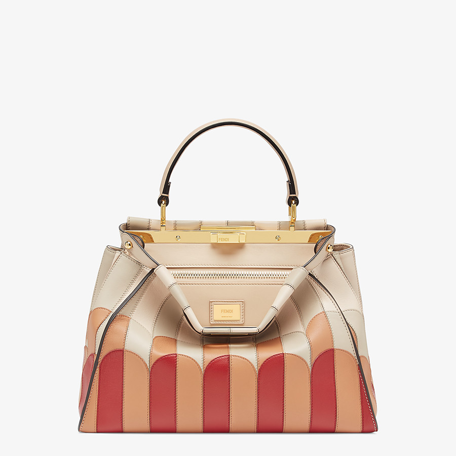 FENDI PEEKABOO ICONIC MEDIUM - Pink leather bag - view 1 detail