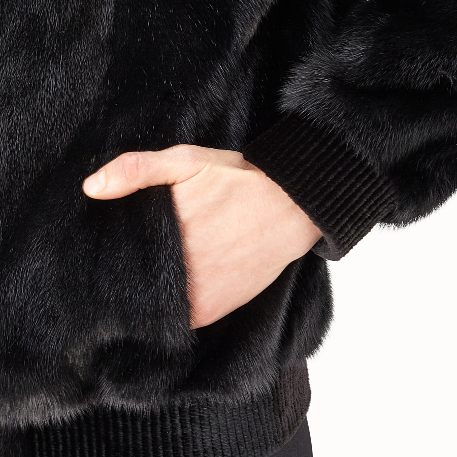 FENDI JACKET - Black mink and tech fabric jacket - view 3 detail