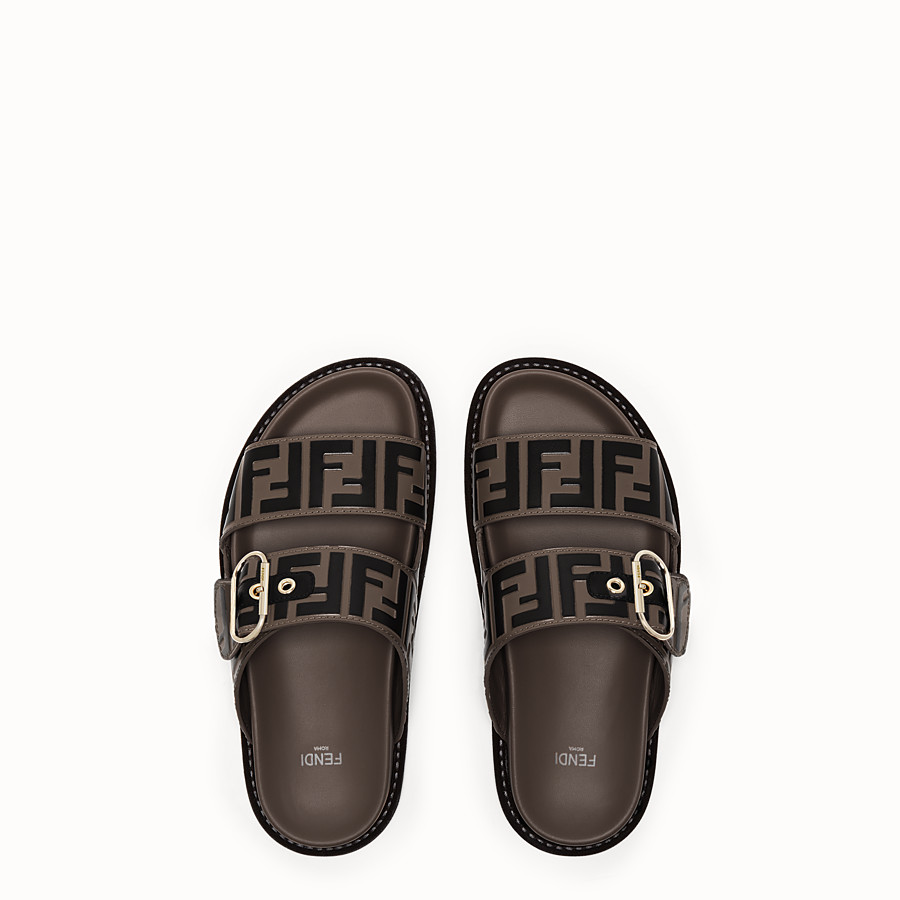 FENDI SANDALES - Chaussures plates en cuir multicolore - view 4 detail