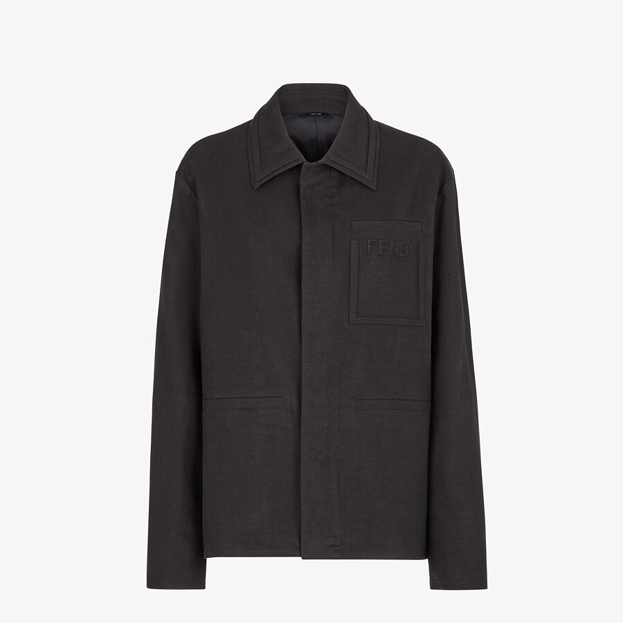 FENDI CAR COAT - Black linen jacket - view 1 detail