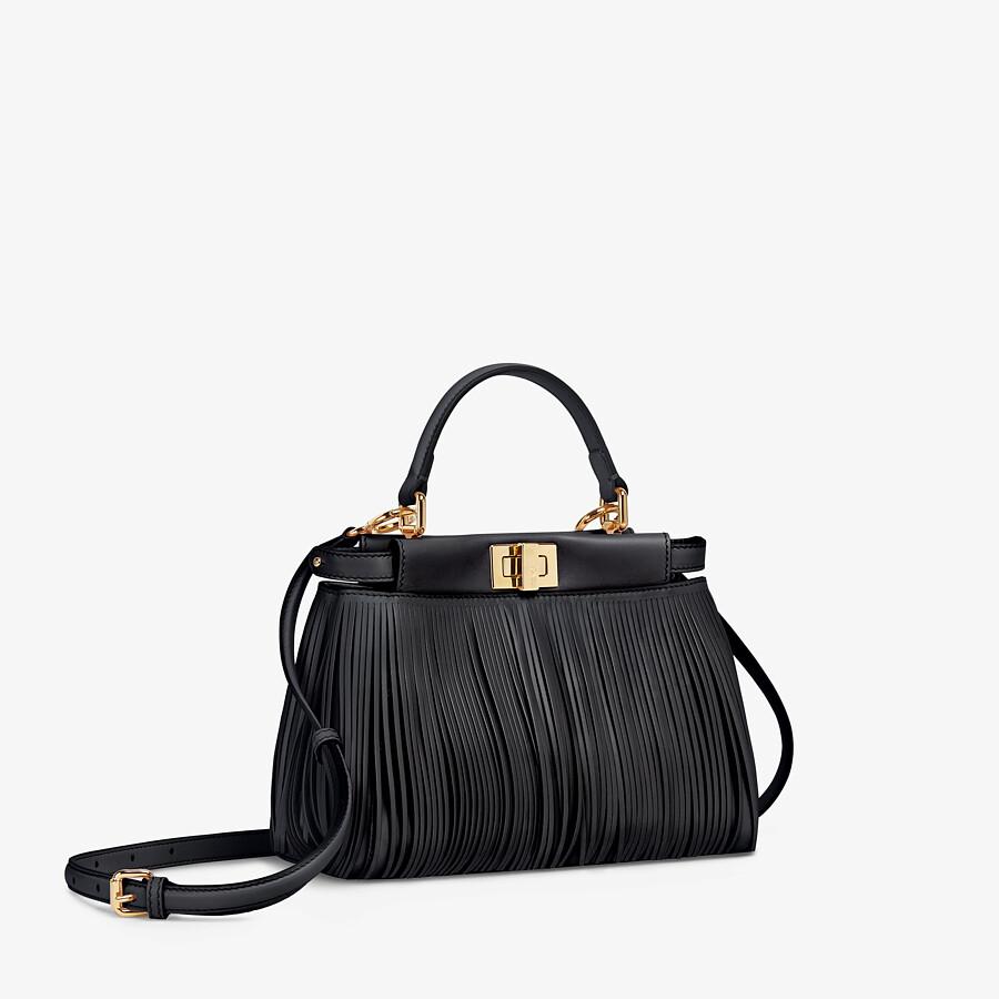 FENDI PEEKABOO ICONIC MINI - Black leather bag with fringes - view 3 detail