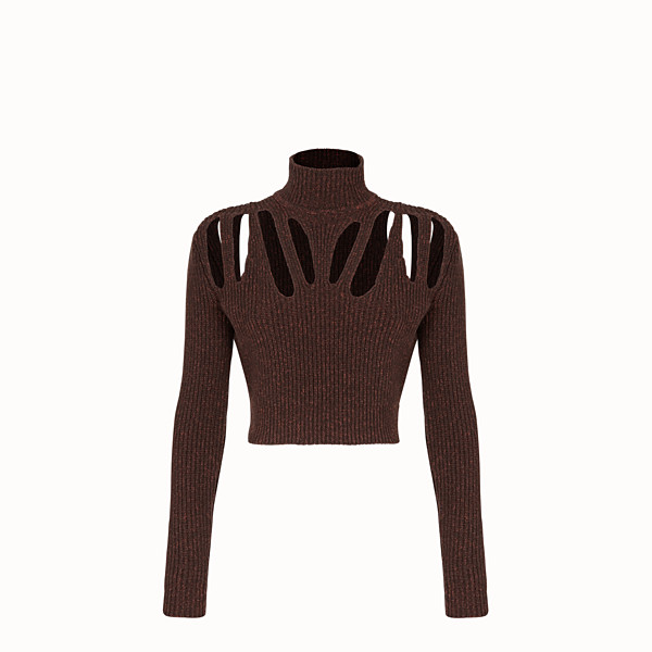 FENDI PULLOVER - Brown cashmere and wool jumper - view 1 small thumbnail