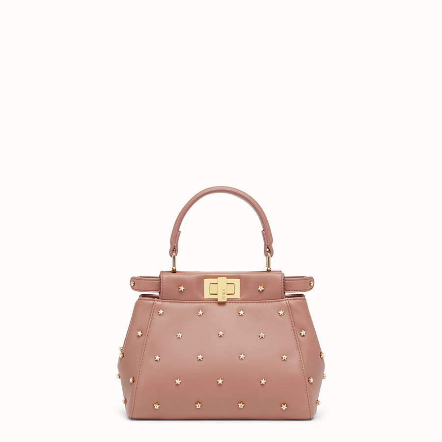FENDI PEEKABOO XS - Pink leather mini-bag - view 1 detail