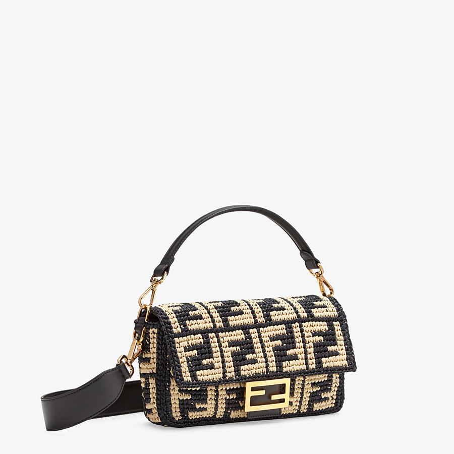 FENDI BAGUETTE - Black raffia FF bag - view 3 detail