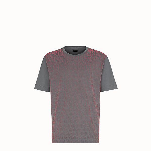 FENDI T-SHIRT - Grey cotton jersey T-shirt - view 1 small thumbnail