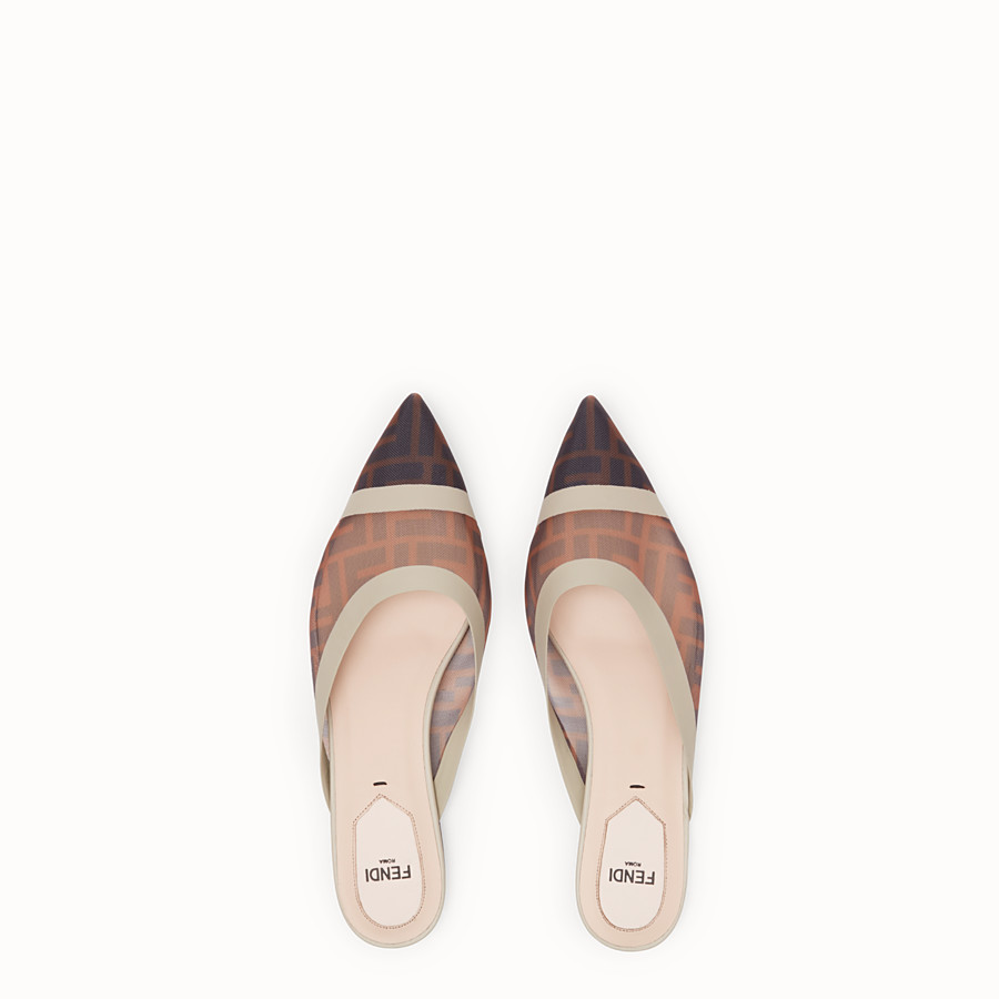 FENDI SLINGBACK - Brown mesh sabots - view 4 detail