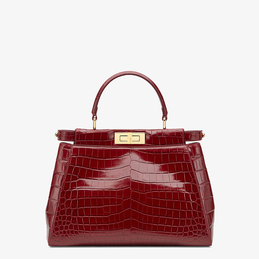 FENDI PEEKABOO ICONIC MEDIUM - Red crocodile leather handbag. - view 1 detail