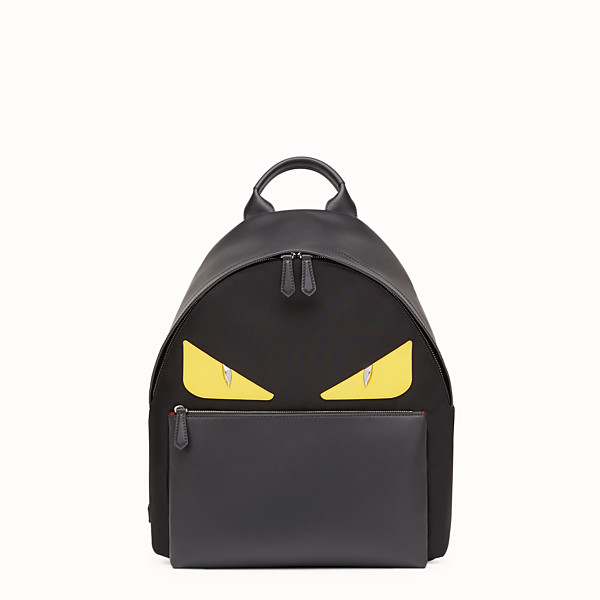 FENDI BACKPACK - Backpack in nylon and black leather with inserts - view 1 small thumbnail
