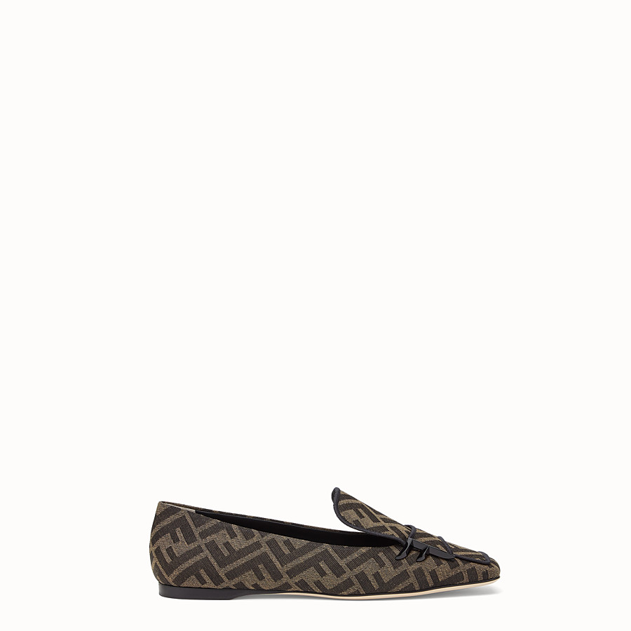 FENDI LOAFERS - Multicoloured fabric flat loafers - view 1 detail