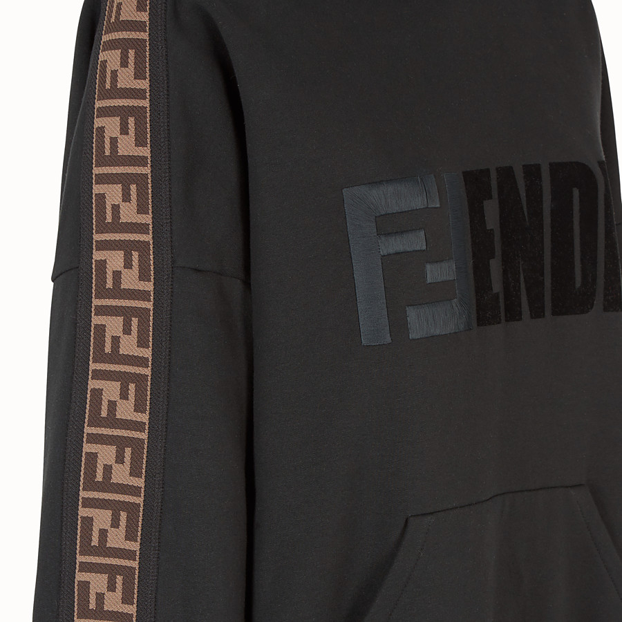 FENDI SWEATSHIRT - Black cotton hoodie - view 3 detail