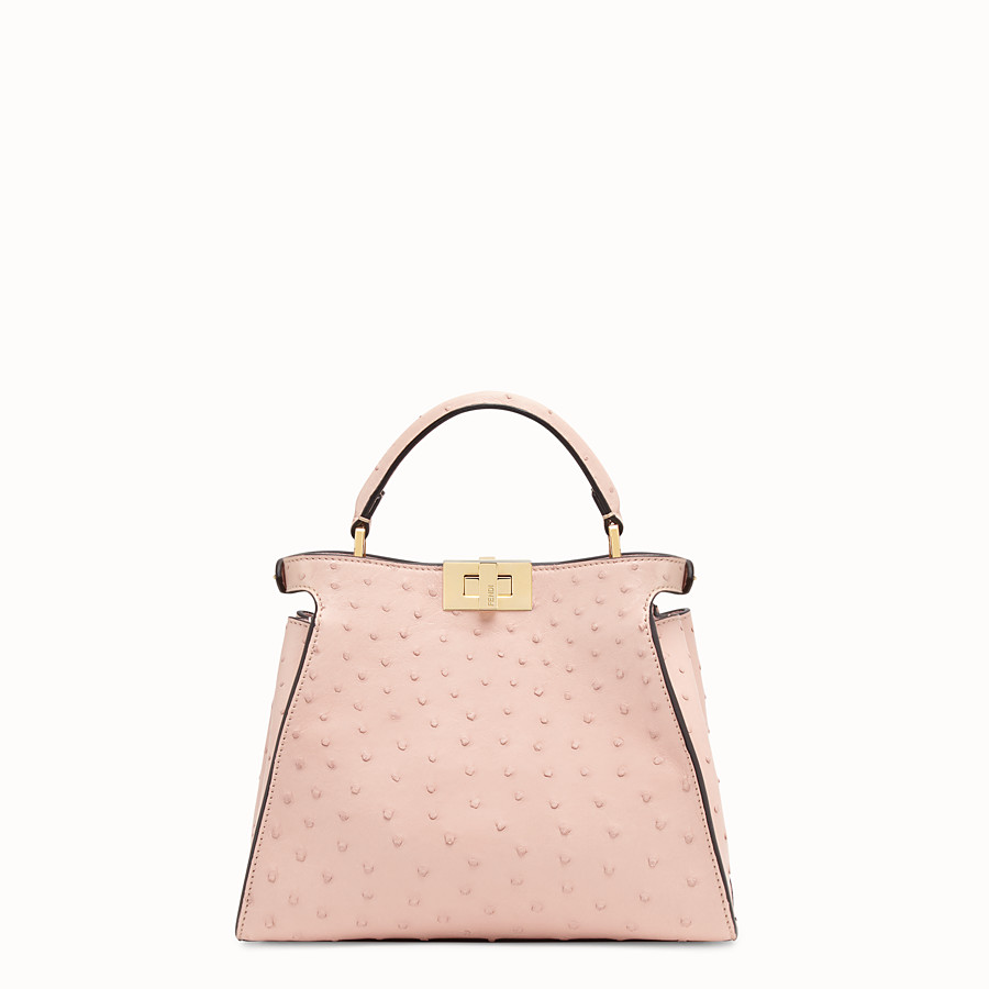 FENDI PEEKABOO ICONIC ESSENTIALLY - Pink ostrich leather bag - view 3 detail