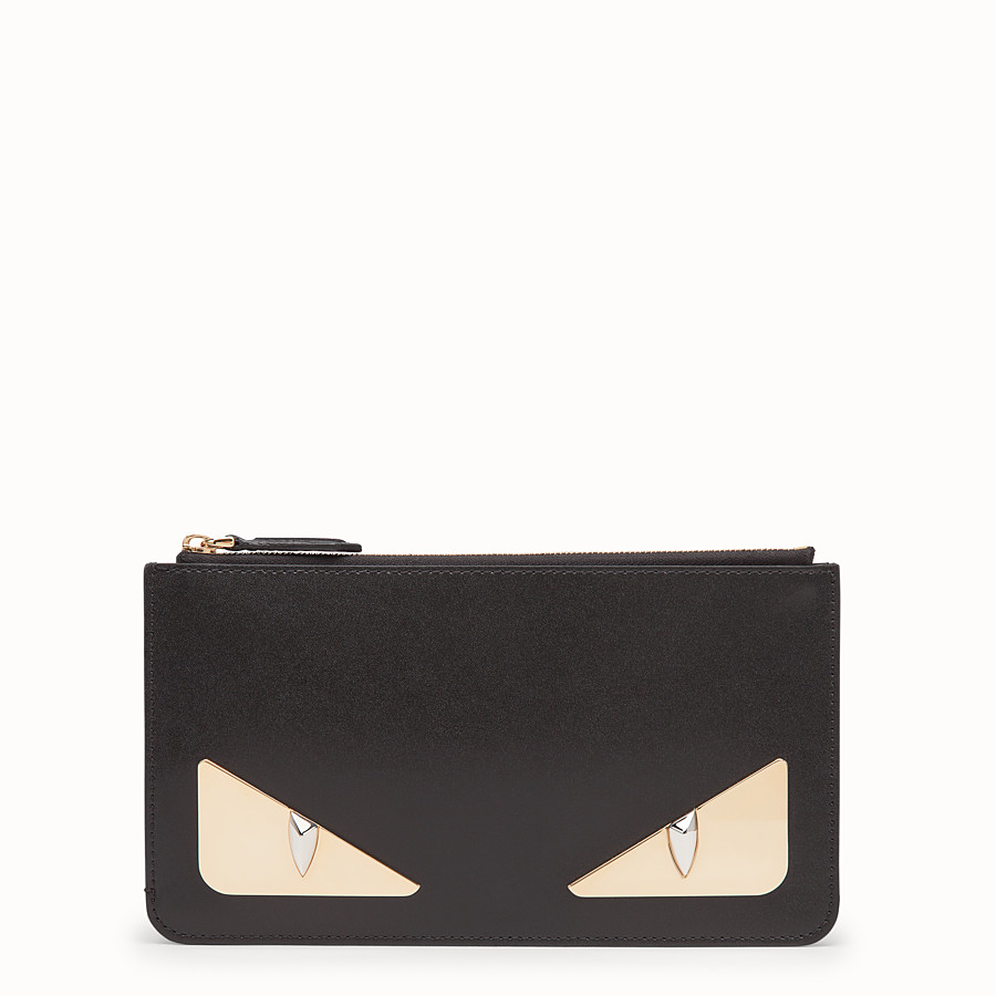 FENDI FLAT CLUTCH - Black leather pochette - view 1 detail