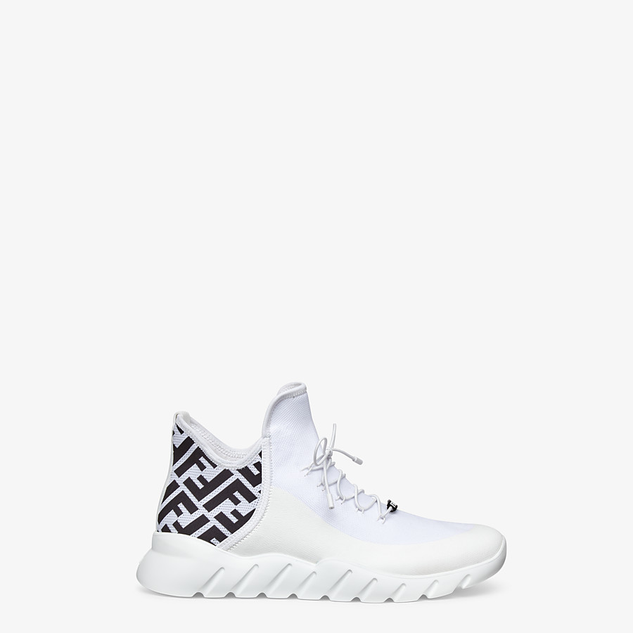 FENDI SNEAKERS - White tech mesh high-tops - view 1 detail