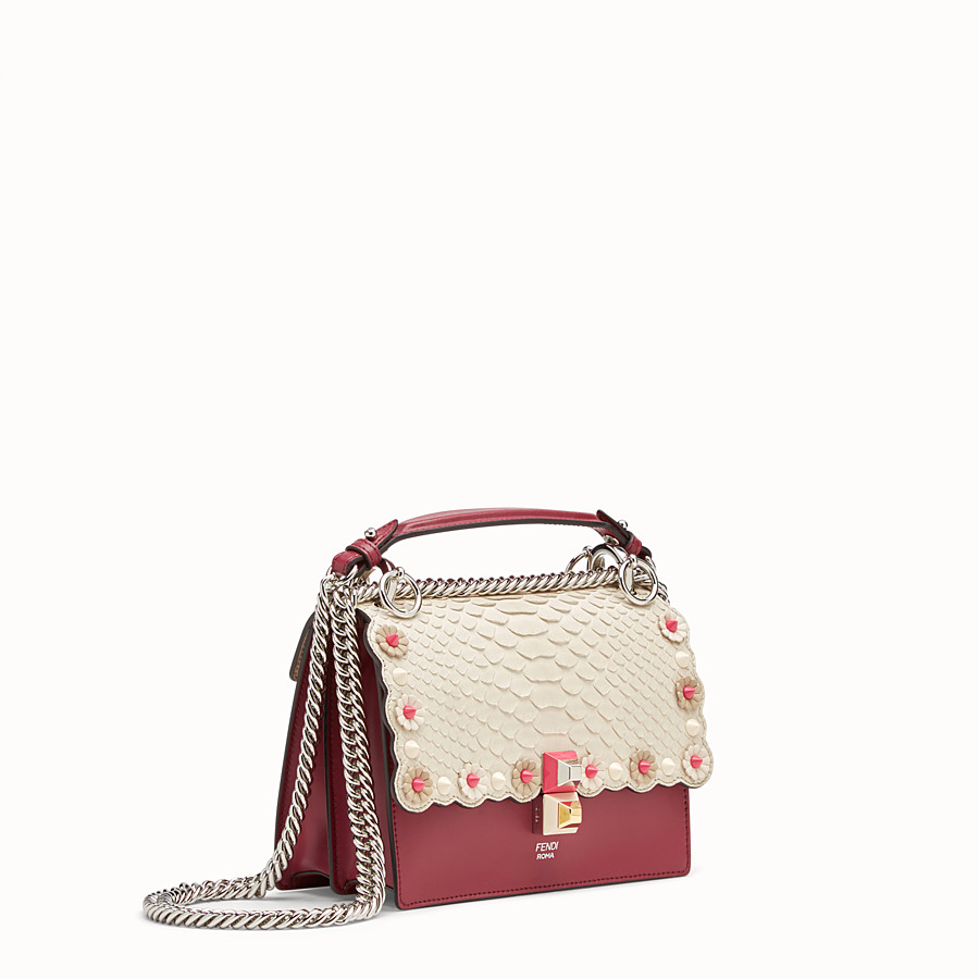 FENDI KAN I SMALL - Red leather mini-bag with exotic details - view 2 detail