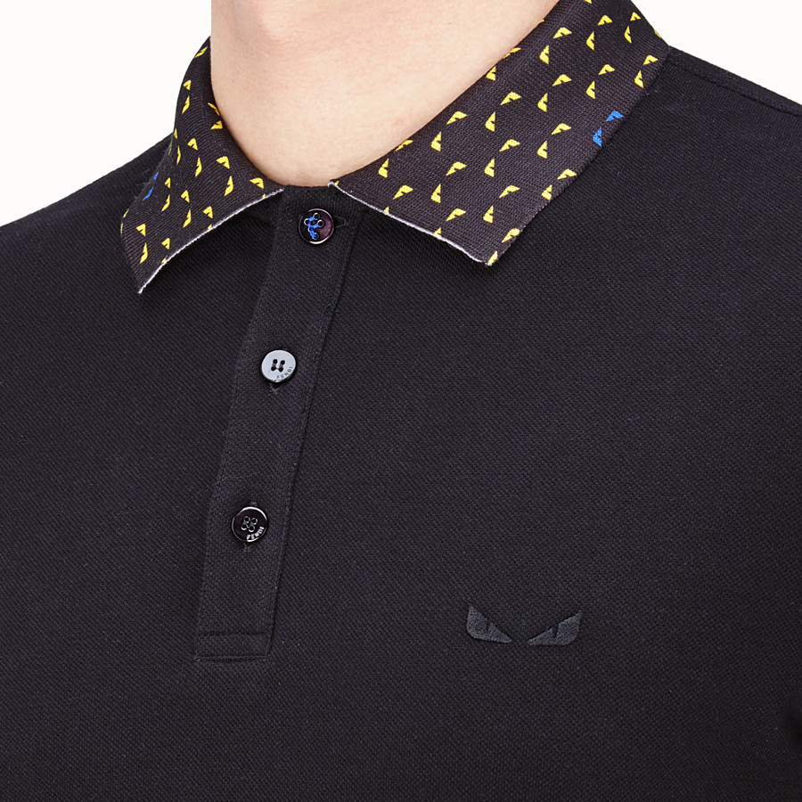 FENDI POLO SHIRT - Black cotton jumper - view 4 detail